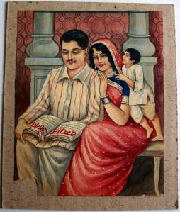 Indian Family - Man, Woman and Child - Vintage Print