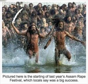 Festival do estupro na província de Assam. Volto a falar disso em outro post.