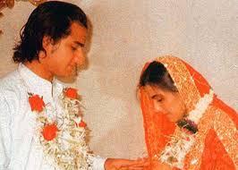 Primeiro casamento de Saif, com Amrita Singh.
