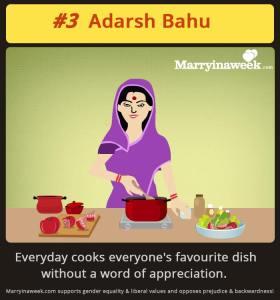 Quadrinhos comicos sobre a vida de uma nora indiana.